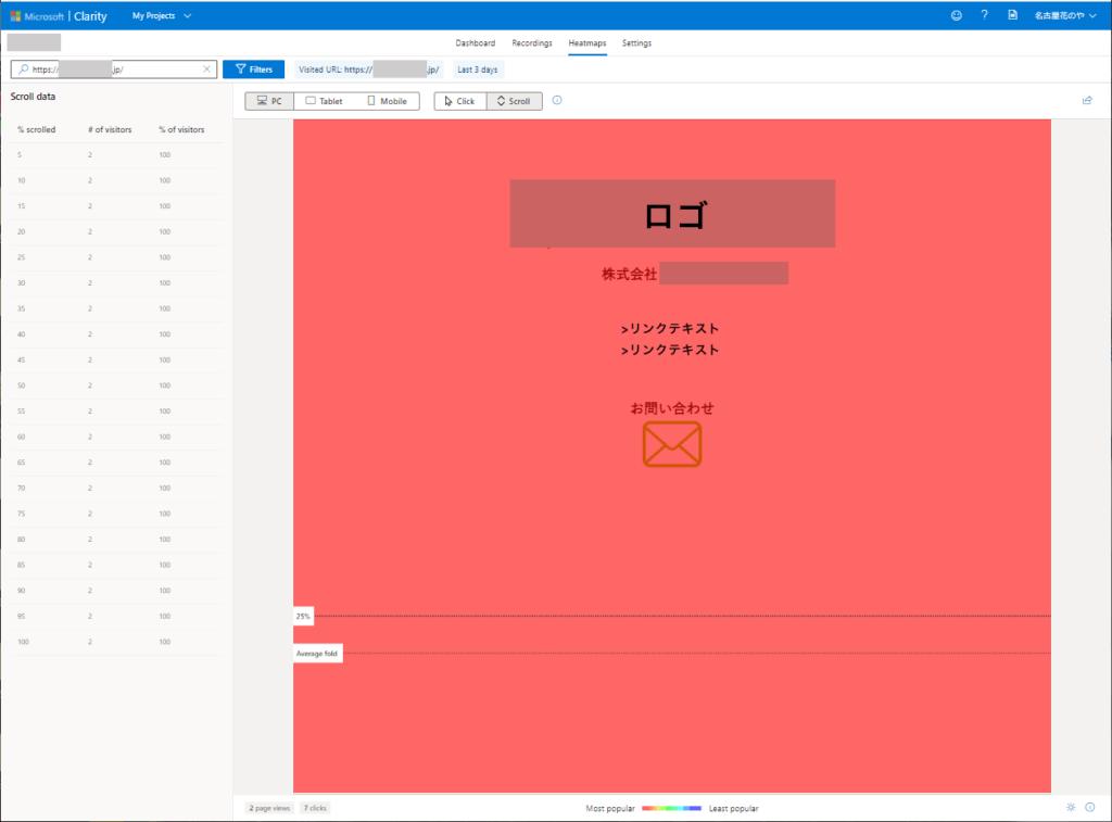 Microsoft Clarity ヒートマップ(スクロール)の図